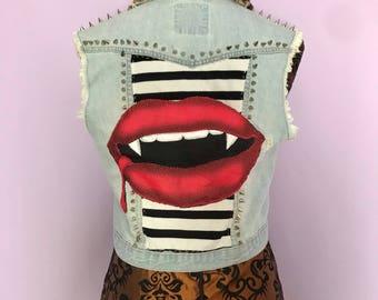 Custom 'Glampire' studded cropped denim vest