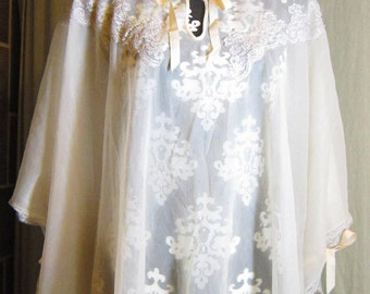 Vintage organza cape with lace, size small