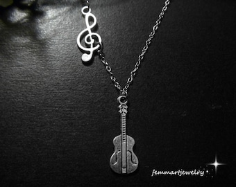 Guitar Necklace G-Clef Sideways Chain - Music Jewelry - Guitar Pendant and G Clef Charm