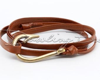 Brown Nappa Leather Fish Hook Bracelet