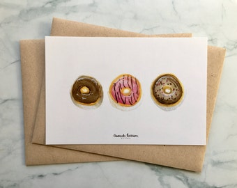 Donut Greeting Cards | Donut Cards | Hello Cards | Donut Watercolor Art | Set of 10 Cards, 10 Kraft Envelopes