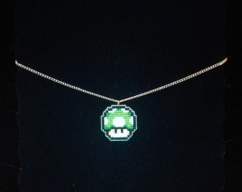1-Up Mushroom (Super Mario) Cross Stitched Necklace