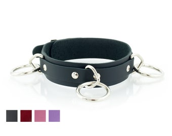 3 Ring Training Collar for Master Slave - Secure Slave Collar with Locking Buckles - Premium Leather with O-Ring's