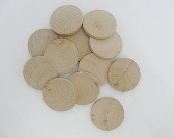 "12 Wood Circles, 1.5 inch wood disc, wooden disk 1 1/2"" x 3/16"" thick unfinished DIY"