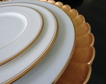 6 Vintage Gold Charger Plates - 1950\u0027s Mid Century Gold Gilded Retro & Vintage Dinnerware Sets | Etsy