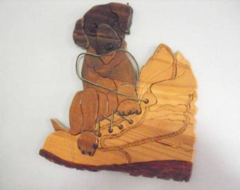 Puppy Old Boot and Lacing Handcrafted Wooden Wall Hanging Dog Lovers Plaque