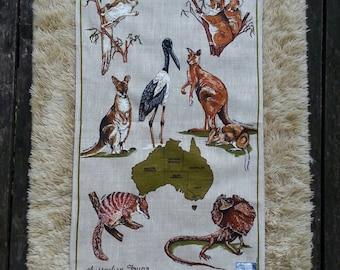 Australian Souvenir Tea Towel. Kitchen linen. Australian Fauna.