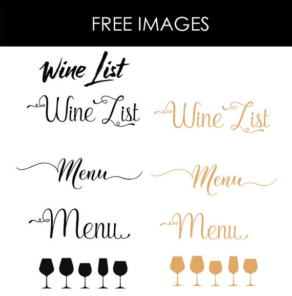 Wine List Wine Menu Template Wedding Print Drink Menu
