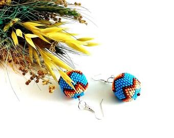 Beaded bead earrings Beaded ball earrings Statement earrings Blue earrings Star earrings Cute earrings Island paradise jewelry Gift for girl