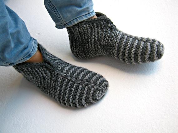 Knitted Socks Knitted Slippers Mens Socks Warm Socks Gray