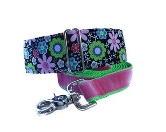 Floral Martingale Collar and Leash, 2 Inch Martingale Collar and Leash, Pink Dog Collar and Leash, Saluki Collar, Dog Lovers Gift Idea