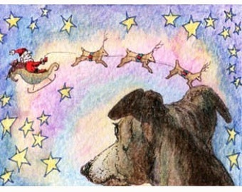 Whippet greyhound Christmas sleigh 8x10 art print