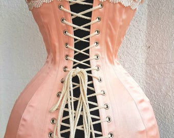 Peach Pink Satin Coutil Steel Boned Edwardian Overbust Tight Lacing Corset with Venise Lace Detail Custom Made JustFor You