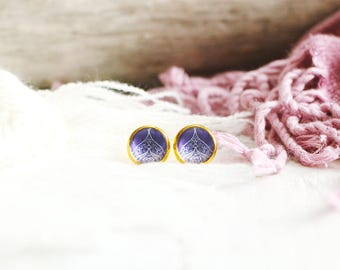 Alhana stud earrings, graphic pattern, purple, gold base 10 mm, Arabian Nights, Women
