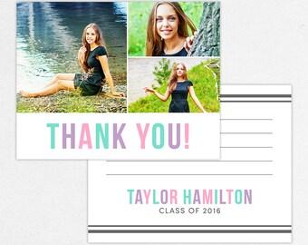 Graduation Thank You Card, Photo Graduation Thank You, Printable Graduation Thank You, Printed Thank You, Girl Graduation, Pink, Blue Purple