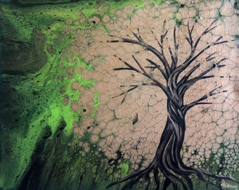 Tree of Life Acrylic Flow Painting on Canvas with Metallic Gold