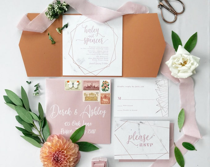 Rose Gold, Blush Pink & Marble Modern Geometric Water Color Wedding Invitation with Details and RSVP (Other Color Options)