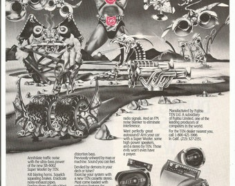 1983 Advertisement Ten Car Audio The Super Woofer Hear No Evil Viking Sci Fi Stereo Speakers Black and White Wall Art Decor