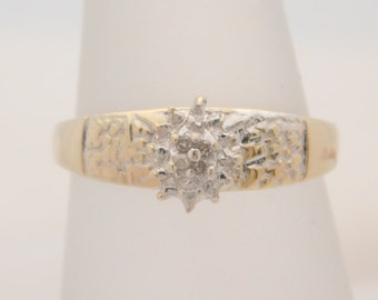 Lady's Round Cut Diamond Cluster Ring 10K Yellow Gold