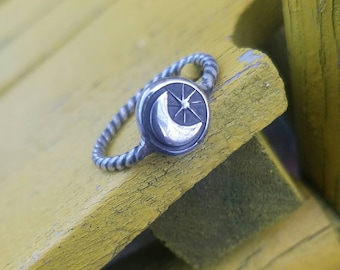 Sterling Silver Crescent Moon and Star Ring, Made to Size
