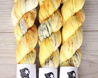 Sunshine - Hand Dyed Yarn,Merino Wool 70, Silk 20, Cashmere 10, DELUXE Wool, ,grey, yellow, orange, Fingering Weight, Knitting Supplies
