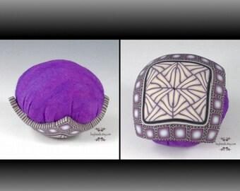 Polymer Clay Pincushion, Handmade, Purple, Cream
