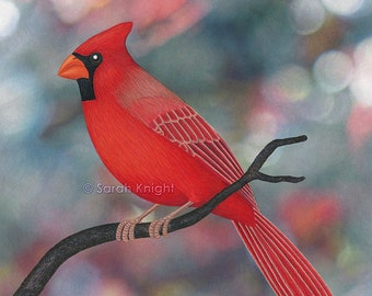 male northern cardinal - bokeh - signed art print 8X10 inches by Sarah Knight, scarlet red bird colorful forest green dots