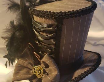 Mad Hatter pinstripe corset steampunk medium Mini Top Hat