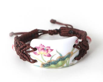 Porcelain Bracelet with Traditional Chinese Brush Painting (Lotus)