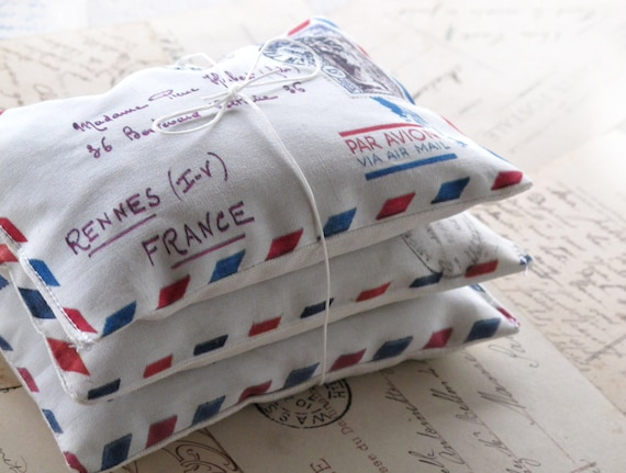 Set Of 3 Organic French Lavender Sachets , Mini Pillows French Aeropostale  Letter, Scented Sachets , Mini Decorative Pillows