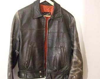 vintage motorcycle leather jacket size 36