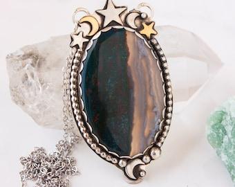 Libra Bloodstone OOAK Necklace in Sterling Silver
