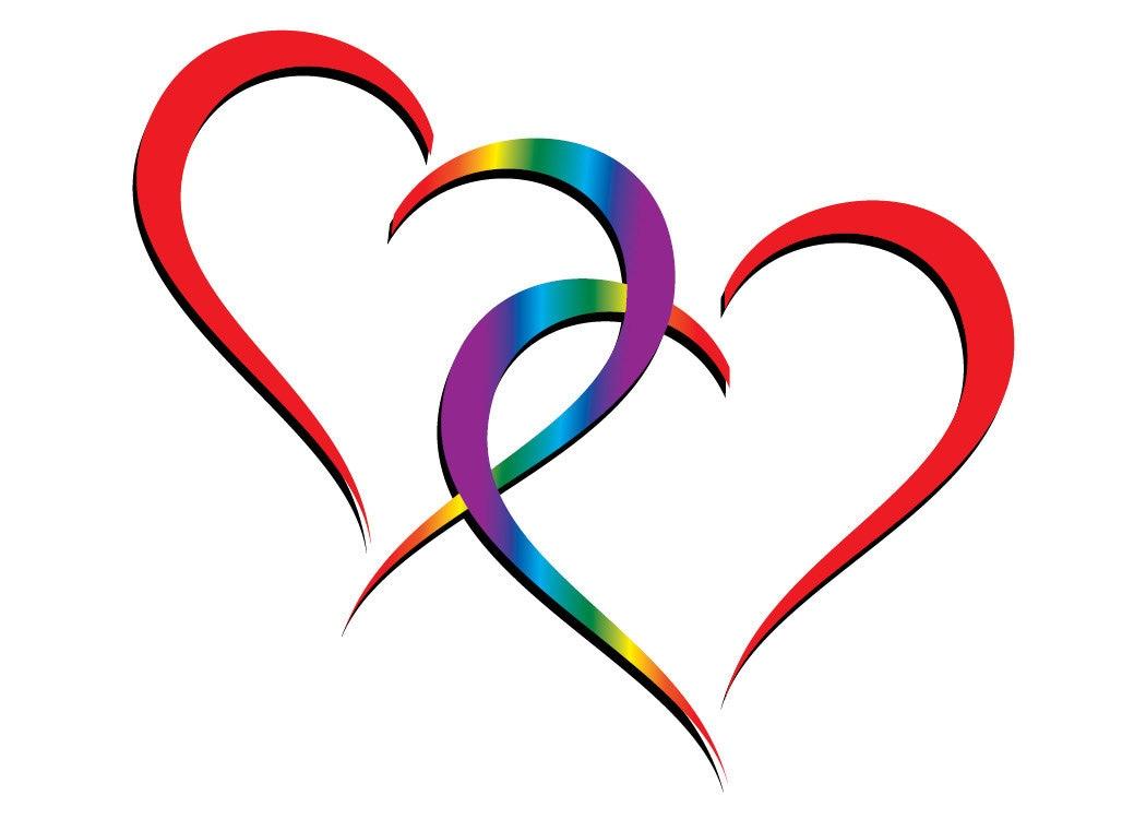 Two hearts one love rainbow hearts entwined zoom buycottarizona