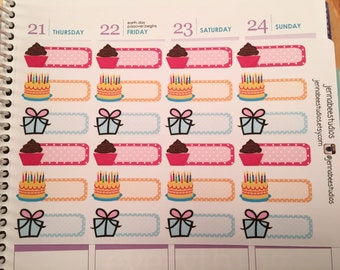 Birthday Set of Planner Stickers - 24 Stickers - Perfect for Erin Condren, Plum, Kikki k, Filofax, Happy Planner and more!! 118