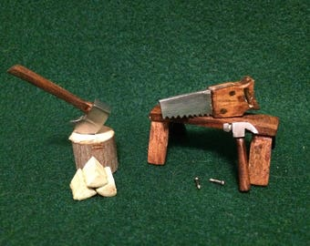 Miniature Handsaw, Axe & Hammer Set. Miniature Tools