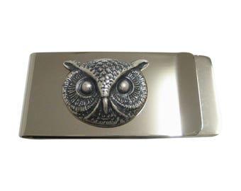 Silver Toned Owl Bird Head Pendant Money Clip