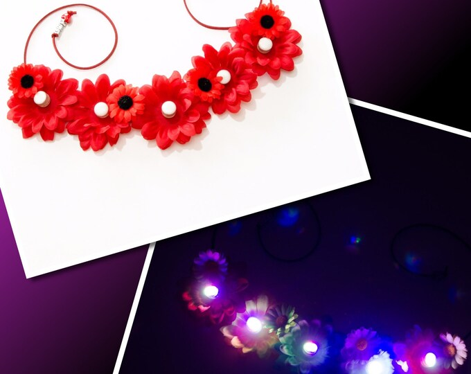 Red Daisy LED Flower Crown