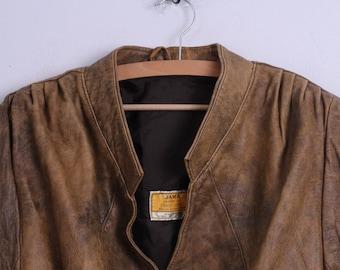 JAMA Womens M Vintage Jacket Brown Leather Shoulder Pads Retro Top