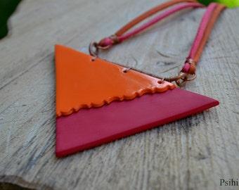 Geometric necklace Geometric jewelry Triangle necklace Triangle jewelry Polymer clay necklace Polymer clay jewelry Colorful necklace OOAK