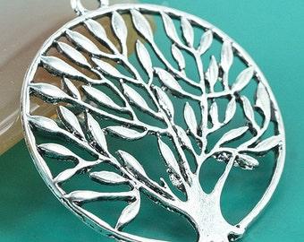 5pcs Tibetan Silver round 36mm tree design pendant H0005