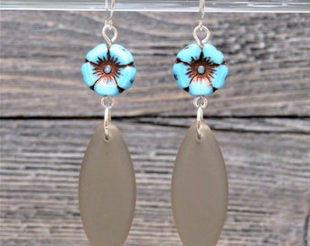 Sea Glass Drop Earrings ~ Mother's Day Gift ~ Coastal Beach Jewelry ~ Gray Seaglass ~ Tropical Earrings ~ Hawaii ~ Beach Glass ~ California