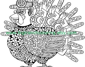 Thanksgiving Turkey Adult Coloring Page -  Retro Turkey - Adult Coloring - Fall, Retro, Hippie - Colouring - Printable - Instant Download
