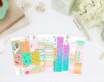 25% OFF SALE (no coupon needed) - Summer Forever Mini Kit - Vertical Planner Stickers (Weekly Sticker Kit) - For Use With Erin Condren LP