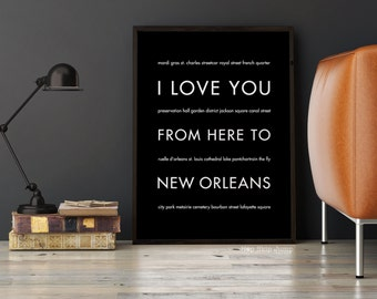New Orleans Art Print, New Orleans Decor, NOLA Gift, Louisiana, Travel Poster, Mardi Gras Gift, I Love You From Here To New Orleans