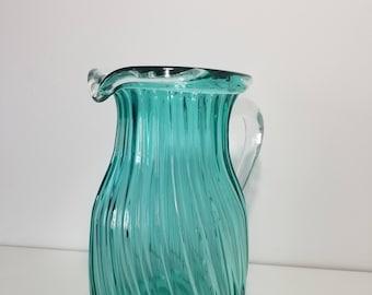 "8.5"" Tall Vintage Green Glass Pitcher/Jug"