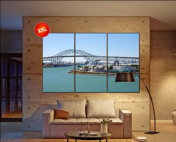 Harbor bridge in Corpus Christi Large  canvas wall art Harbor bridge in Corpus Christi, Texas print fine art 3 / 5 panels decoration