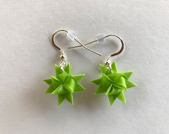 Moravian Star Earrings—Lime Green Vellum