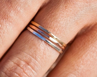 The 14k Trio |Thin Band Ring Set | Stacking Rings | Handcrafted Rings