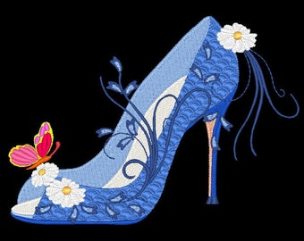 FASHIONISTA SHOES #9- 1 Machine Embroidery Design Instant Download 4x4 5x5 6x6 hoop (AzEB)