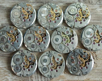 "Set of 10  watch movements 0.6"" (16 mm) ... Featured ... Steampunk supplies ...  Watch movements for art ... Vintage ... Steampunk Findings"